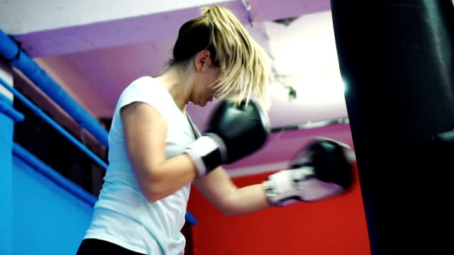 Woman's boxing training
