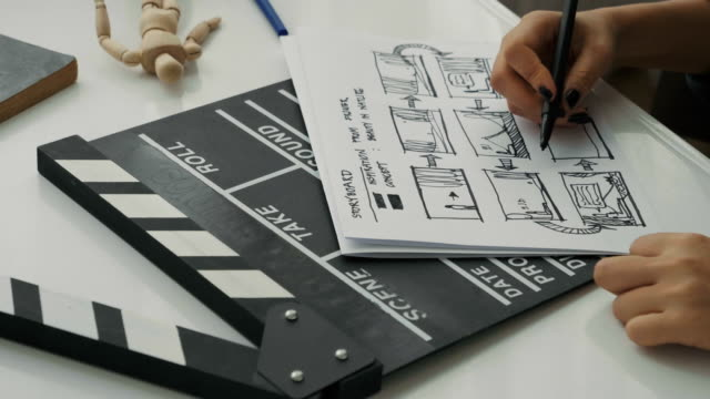 vídeos de stock e filmes b-roll de woman's director hand while sketching and brainstorming for making storyboard of her work-creative of film maker director movie process - temas fotográficos