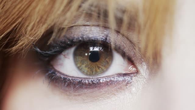 A woman's eye dilates.