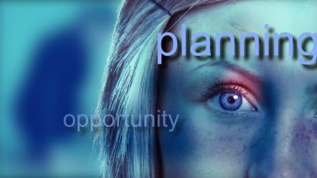 vídeos de stock e filmes b-roll de montage cu woman's eye with business words appearing - alto contraste