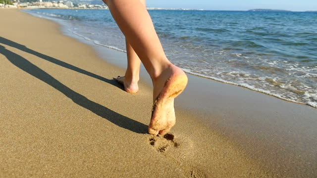 woman's feet walking by the sea - naked stock videos & royalty-free footage