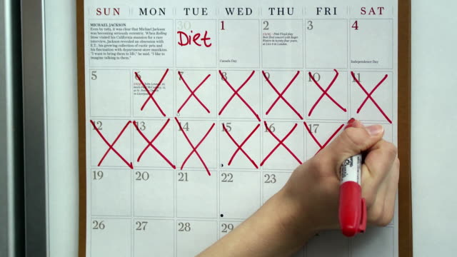vídeos de stock, filmes e b-roll de cu woman's hand marking diet days on wall calendar, scarborough, new york, usa - dieting