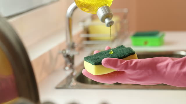 cu woman's hand pouring dishwashing liquid on cleaning sponge / delhi, india - glove video stock e b–roll