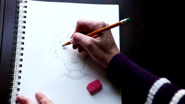 Woman's Hands Sketching Cartoon Person