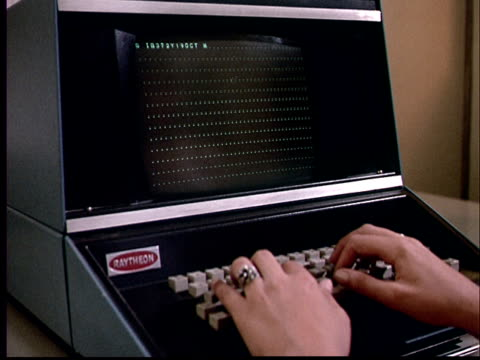 1970 cu woman's hands typing on computer - retro style stock videos & royalty-free footage