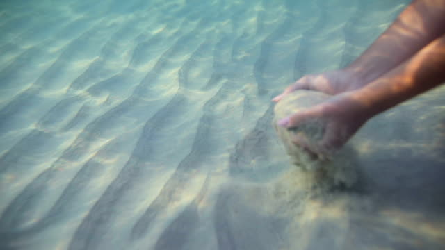 Woman's hands underwater