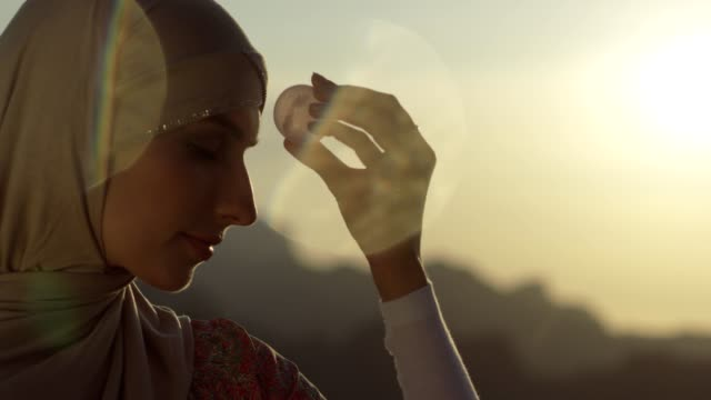 woman's head with a healing crystal - quartz stock videos & royalty-free footage
