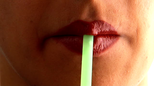 woman's lips - straw stock videos & royalty-free footage