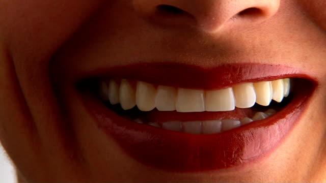 woman's lips - lingua umana video stock e b–roll