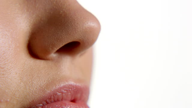 woman's nose - sensory perception stock videos & royalty-free footage