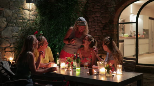 women al fresco dining in tuscany - dinner party stock videos & royalty-free footage