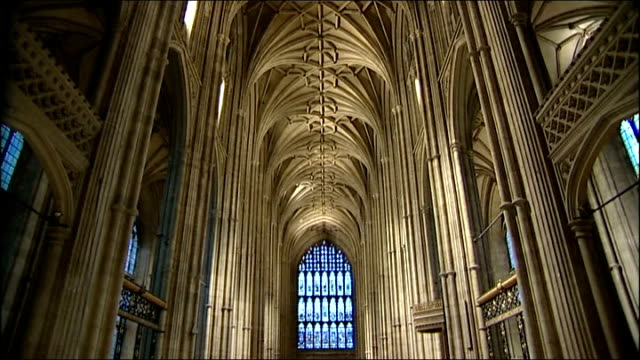 women allowed to sing in canterbury cathedral choir; england: kent: canterbury cathedral: int gvs women's choir singing during rehearsals sot... - canterbury cathedral stock videos & royalty-free footage
