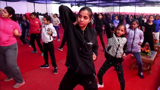 Women and children participate in a self defence training camp organised by authorities in New Delhi which has a poor record of safety for women...