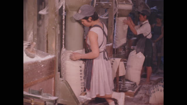 cu of women assembling bags of flour in food processing plant - taipei stock videos & royalty-free footage