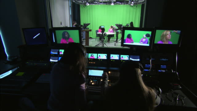 MS Women at work in television studio and control room, Brooklyn, New York City, USA