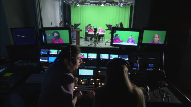 ms zi women at work in television studio and control room, brooklyn, new york city, usa - television studio stock videos & royalty-free footage