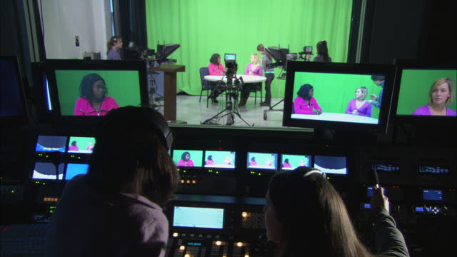 MS ZO Women at work in television studio and control room, Brooklyn, New York City, USA