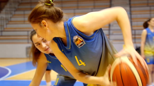 women basketball duel - shooting baskets stock videos & royalty-free footage