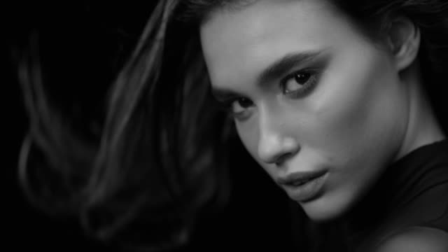women, beauty, fashion model, human face. black & white fashion video. - long stock videos & royalty-free footage