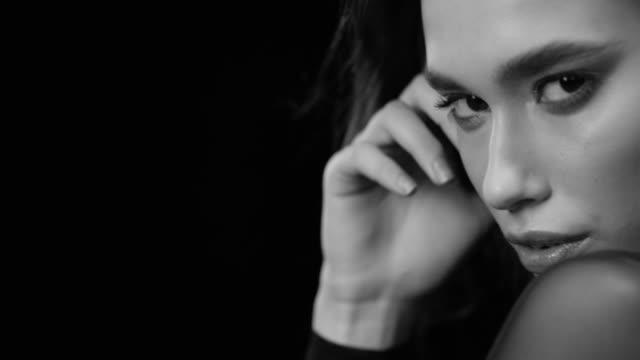 women, beauty, fashion model, human face. black & white fashion video. - model stock videos & royalty-free footage