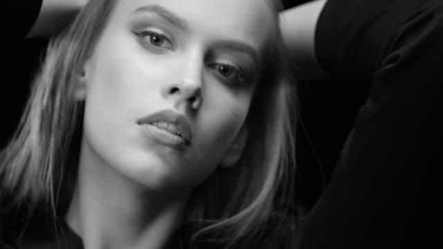 women, beauty, fashion model, human face. black & white fashion video. - highlights hair stock videos & royalty-free footage