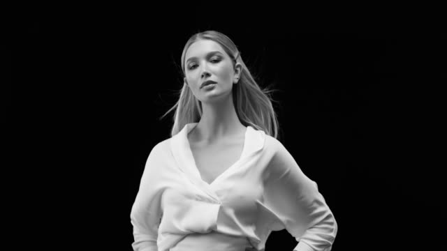 women, beauty, fashion model, human face. black & white fashion video. - fashion stock videos & royalty-free footage
