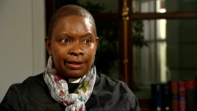 women bishops to be allowed in church of wales reverend rose hudsonwilkin interview sot ext reporter to camera - lambeth stock videos & royalty-free footage
