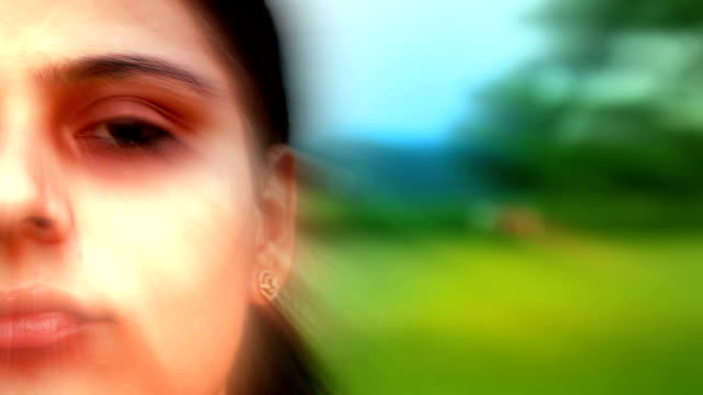 Women Blinking Eyes Close up