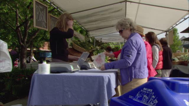 MS Women buying produce at outdoor farmer's market / Lake Oswego, Oregon, USA