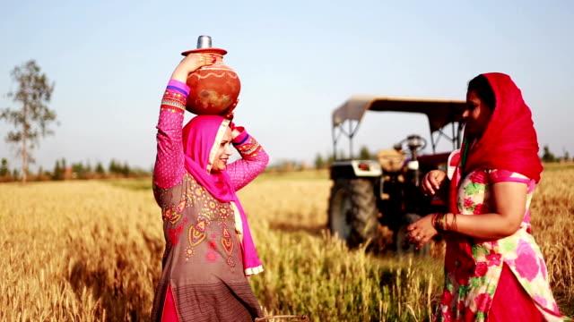 vidéos et rushes de femmes portant le pot de l'eau sur la tête - indian ethnicity