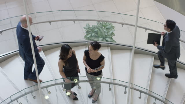 Women Chatting On a Staircase as other Professionals Pass