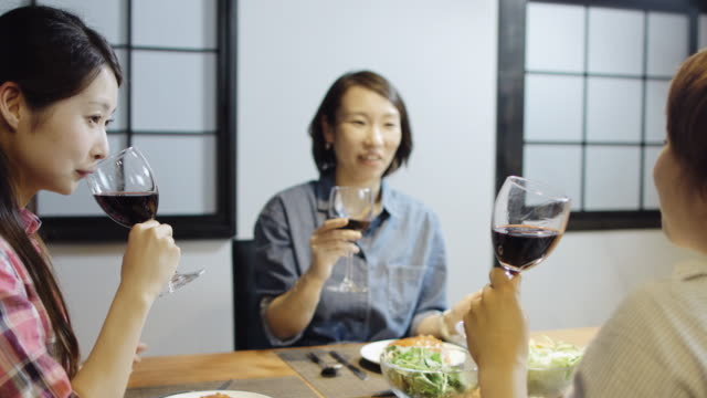 women chatting over food and wine - only japanese stock videos & royalty-free footage