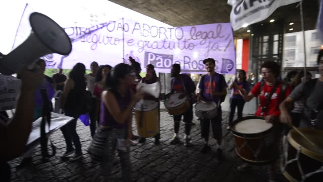 women claim legalization of abortion on thursday night on december 8 2016 in sao paulo on avenida paulista they also position themselves counter to... - avenida stock videos & royalty-free footage