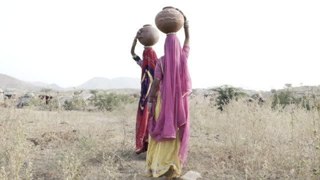 women collecting clean water in rajasthani desert. - drought stock videos and b-roll footage