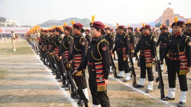 Women commandos of Assam police 'Virangana' personnel during the 70th Republic Day parade in Guwahati India on January 26 2019