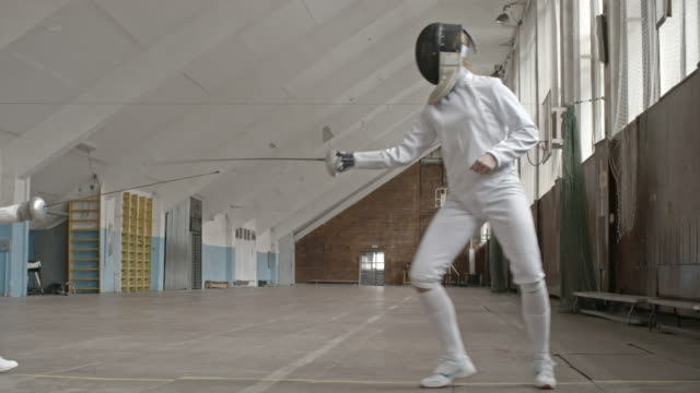 women competing in fencing - sports training stock videos & royalty-free footage