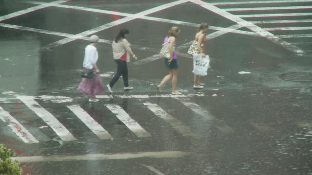vídeos y material grabado en eventos de stock de ws women crossing street through puddle in rain / new york city, new york, usa. - cinco personas