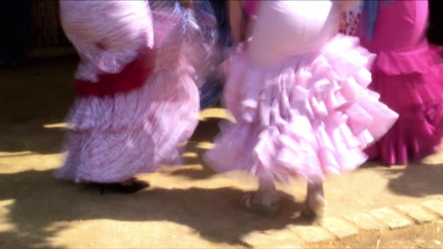 ms women dancing flamenco during street festival, low section, jerez de la frontera, andalucia, spain - flamenco dancing stock videos & royalty-free footage