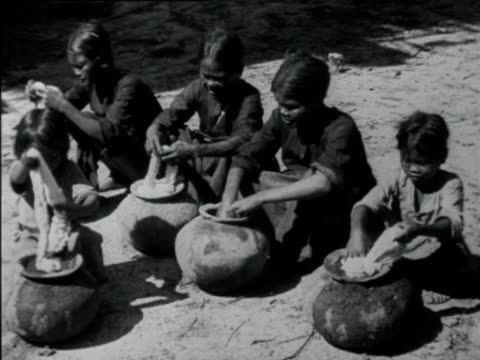 women dyeing yarn with indigo in pots - ball of wool stock videos & royalty-free footage