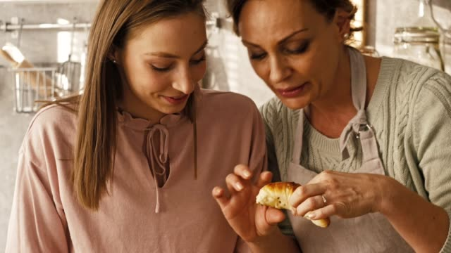 women eating fresh homemade pastry - adult stock videos & royalty-free footage