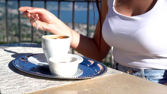women enjoying coffee by the lake geneva - montreux jazz festival stock videos & royalty-free footage