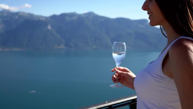 women enjoying drink by the lake geneva - montreux jazz festival stock videos & royalty-free footage