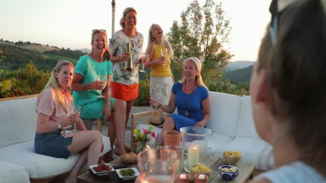 women enjoying drinks on vacation - ladies' night stock videos and b-roll footage