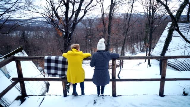 stockvideo's en b-roll-footage met vrouwen in de majestueuze winterlandschap genieten - menselijke rug