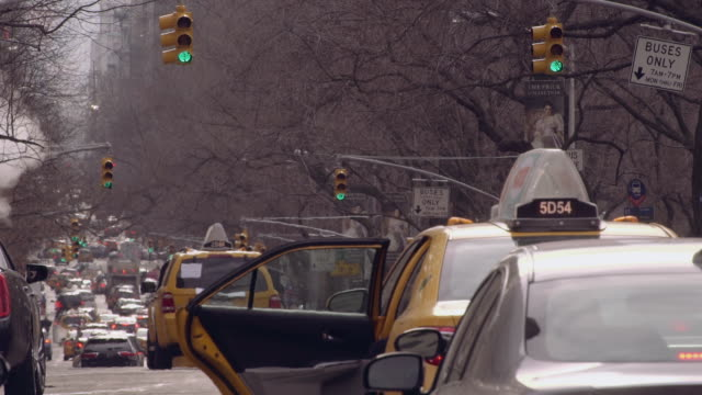 Women Entering Taxi on 5th Avenue Outside of Central Park in Manhattan