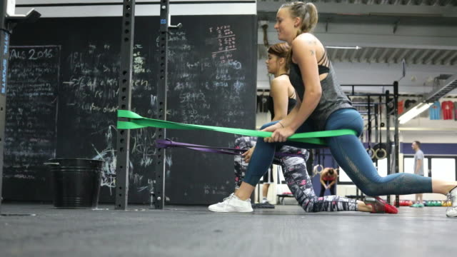 Women exercising with resistance bands in gym