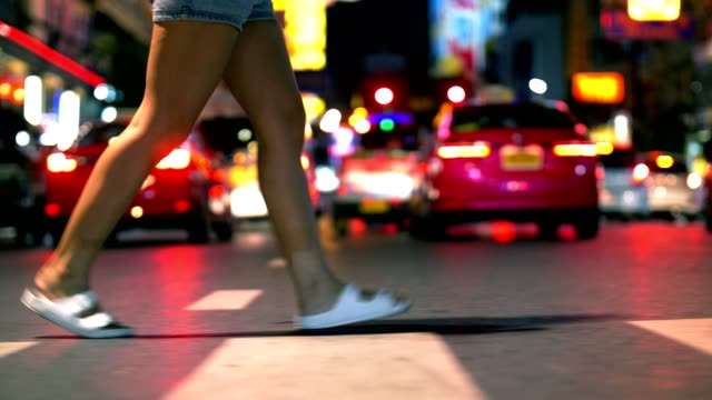 cu : women feet crossing the road in crowded in bangkok chinatown at night - rhythm stock videos and b-roll footage