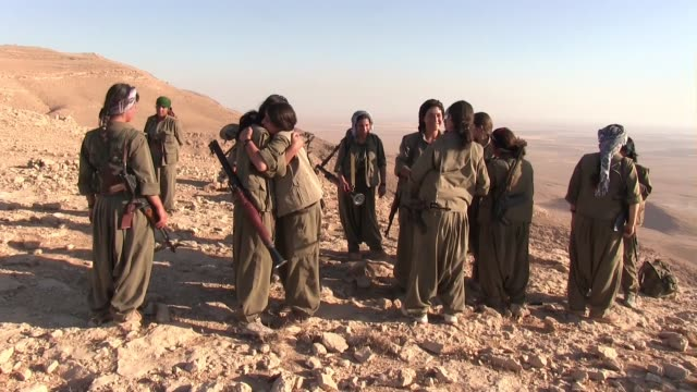 Women fighters of the Kurdistan Workers Party PKK on the front line against ISIS in Makhmur area near Mosul Northern Iraq