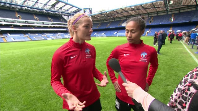 Women footballers to take part in Soccer Aid charity event for first time ENGLAND London Stamford Bridge EXT Katie Chapman interview SOT with Rachel...