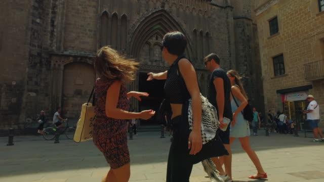 Women friends in Barcelona at summer